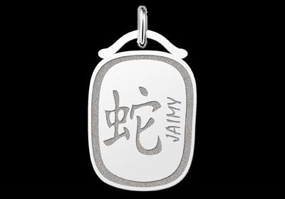 Gegraveerde Zilveren hanger chinees sterrenbeeld Slang