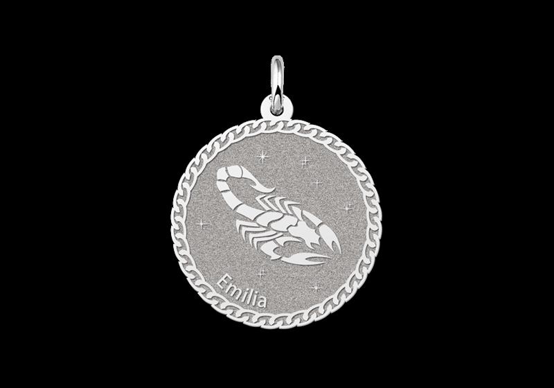 Gegraveerde Zilveren ronde sterrenbeeld hanger Schorpioen