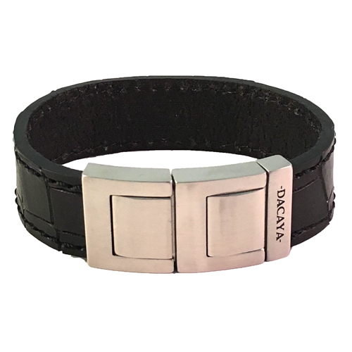 Graveer Hier☝️Jouw Armband Gepersonaliseerd Met Naam Of Tekst Model Leren armband Dacaya Maxtor croco zwart ✅