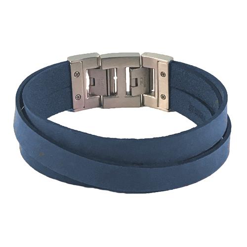 Graveer Hier☝️Jouw Armband Gepersonaliseerd Met Naam Of Tekst Model Leren armband Dacaya Cross roads blauw 28mm✅