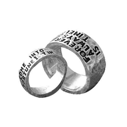 Gegraveerde Tekst Koppel Ring 10mm+7mm Zilver Model Story