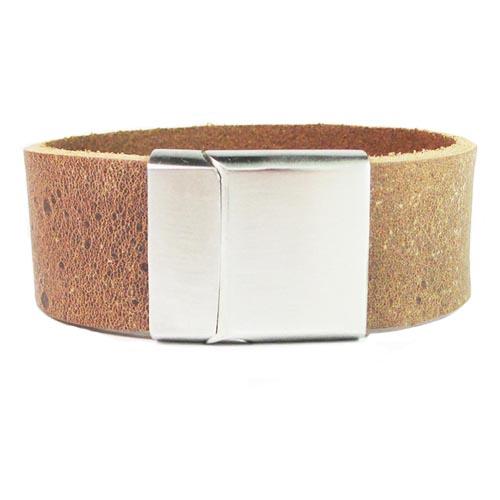 Armband Gepersonaliseerd Met Naam Of Tekst Model Ruwe bruine armband B&L