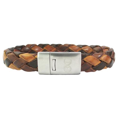 Graveer Hier☝️Jouw Armband Gepersonaliseerd Met Naam Of Tekst Model Gevlochten leren armband bruintinten B&L ✅