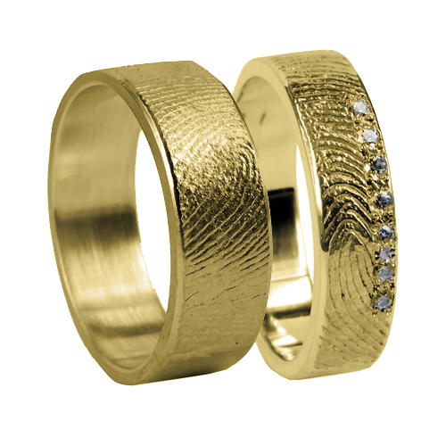 Ringen Voor Koppels Met Vingerafdruk En 7 Steentjes Goud 4mm Model Jaipur