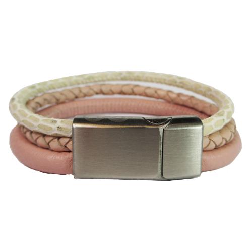 Graveer Hier☝️Jouw Leren Armband Gevlochten En Gegraveerde Sluiting Met Naam Of Tekst Model Roze B&L Leren ✅