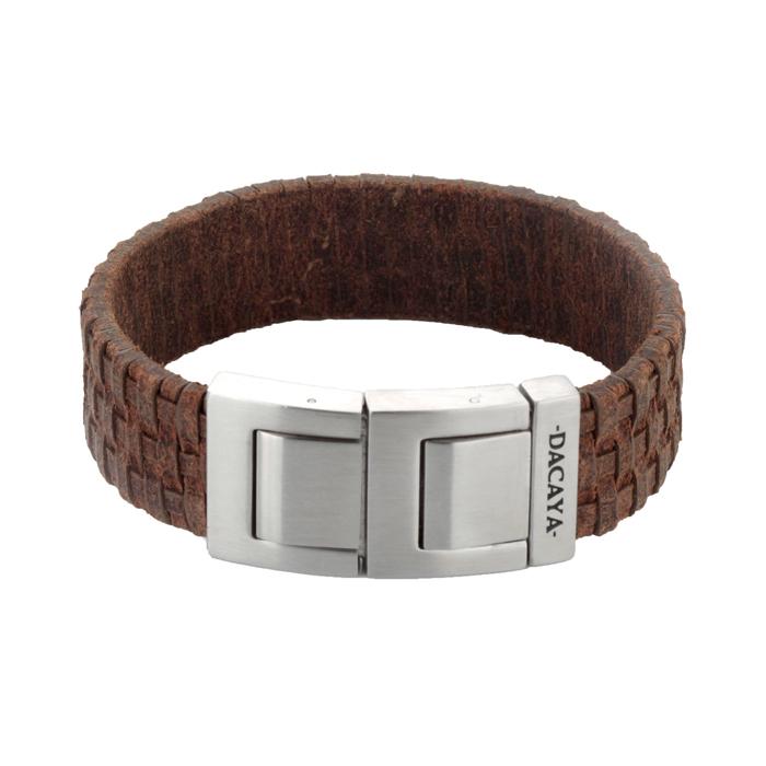 Graveer Hier☝️Jouw Armband Gepersonaliseerd Met Naam Of Tekst Model Leren armband Dacaya Mud Max lichtbruin 20mm ✅