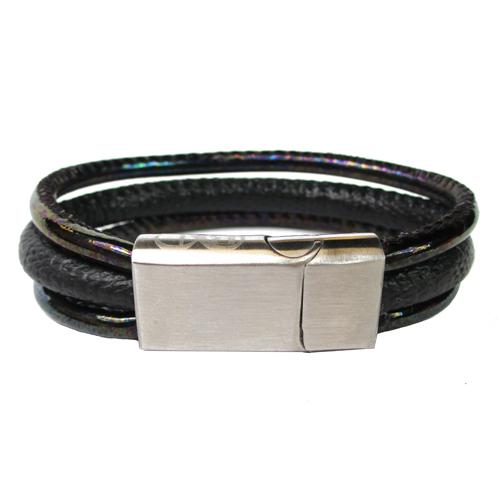 Graveer Hier☝️Jouw Leren Armband Gevlochten En Gegraveerde Sluiting Met Naam Of Tekst Model Zwart B&L ✅