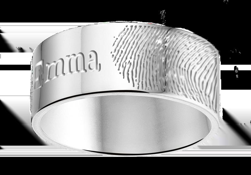 Zilveren ring met vingerafdruk en naam - 8 mm vlak