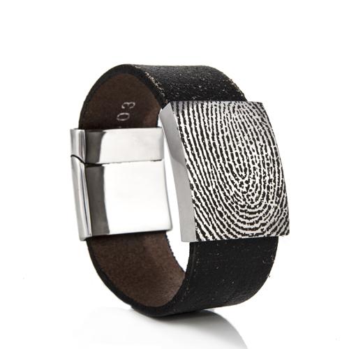 Graveer Hier☝️Jouw Gegraveerde Leren Armband Met Vingerafdruk In Plaat 25mm ✅