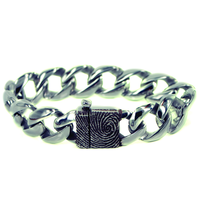 Gegraveerde RVS Schakel Armband 15mm Met Vingerafdruk Bakslot