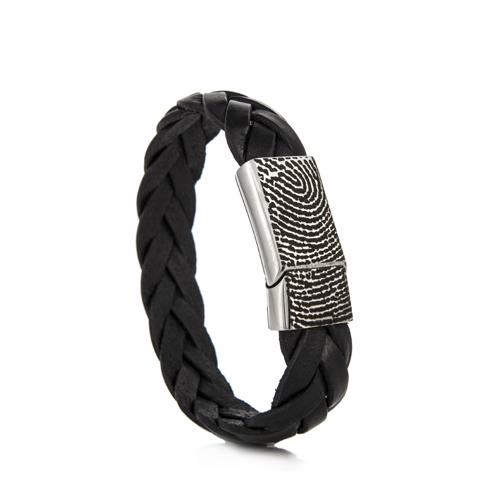 Graveer Hier☝️Jouw Gegraveerde Leren Armband Gevlochten 14,5mm Met Vingerafdruk ✅