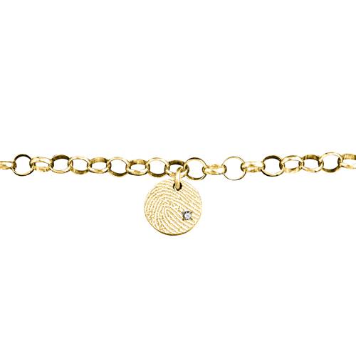 Gegraveerde Gouden Schakel Armband 5mm Ronde Bedel Met Vingerafdruk En Steentje