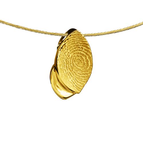 Gegraveerde Gouden Blad Hol Design Hanger Met Vingerafdruk