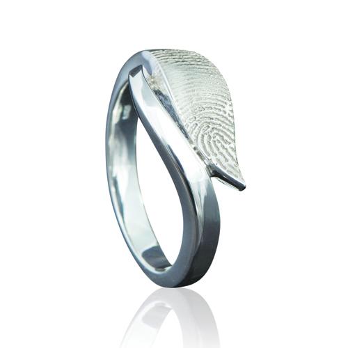 Gegraveerde Zilveren Ring 10mm Design Met Vingerafdruk Model Mumbai