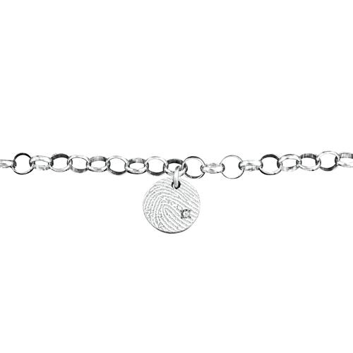 Gegraveerde Zilveren Schakelarmband 5mm Rondje Met Vingerafdruk En Steentje
