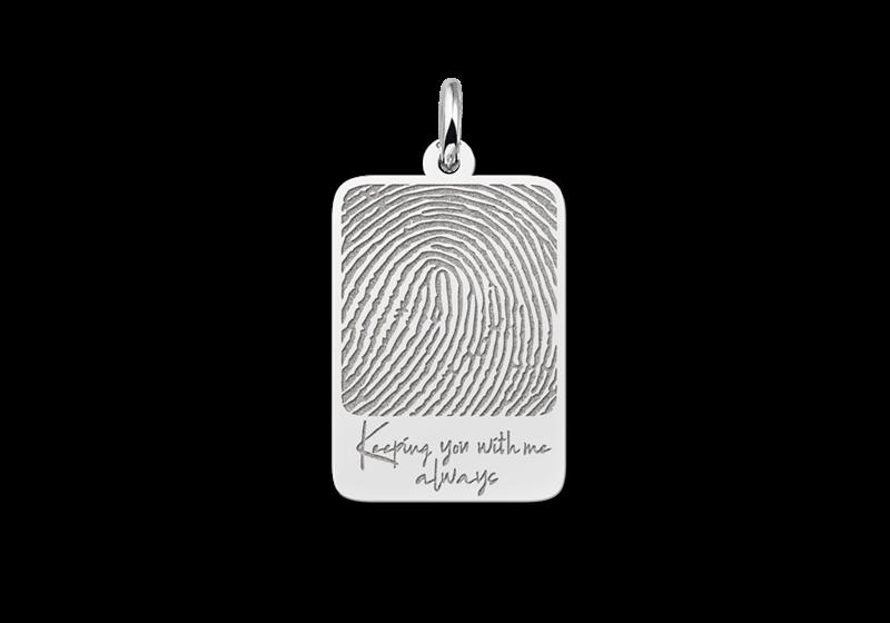 Dogtag hanger met vingerafdruk en eigen tekst