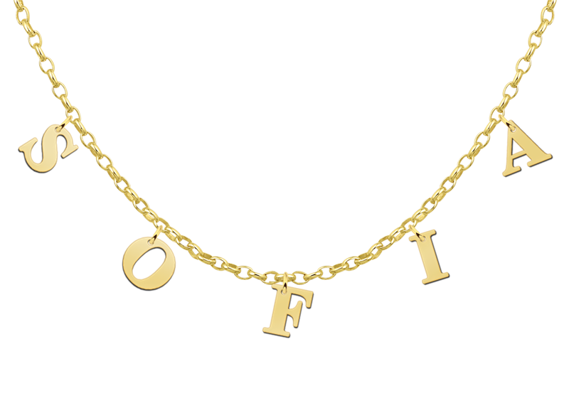 Naamketting goud letters
