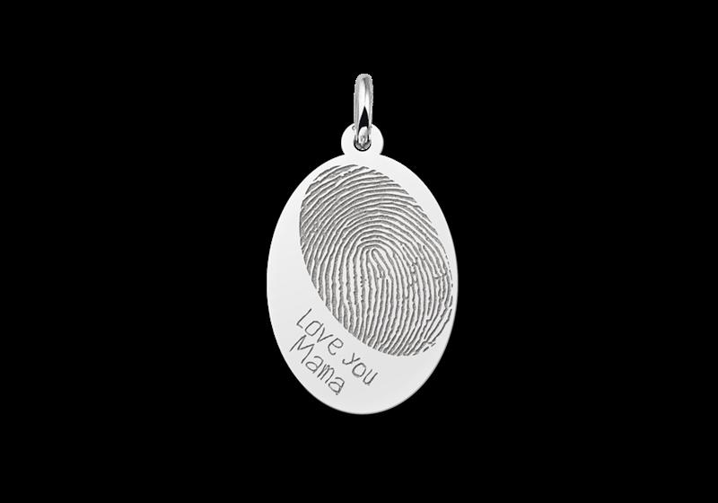 Ovale hanger met vingerafdruk en eigen tekst