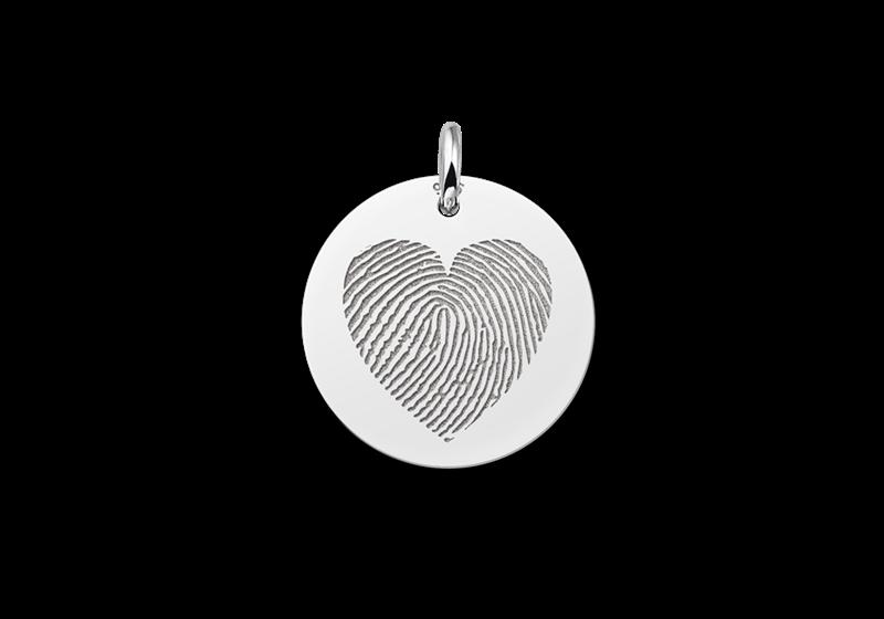 Ronden hanger met vingerafdruk in hartvorm