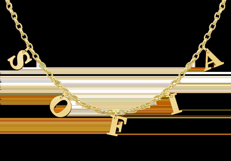 Vergulde naam ketting letters