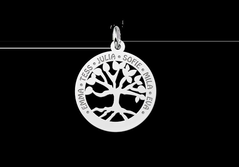 Zilveren familiehanger stamboom klein