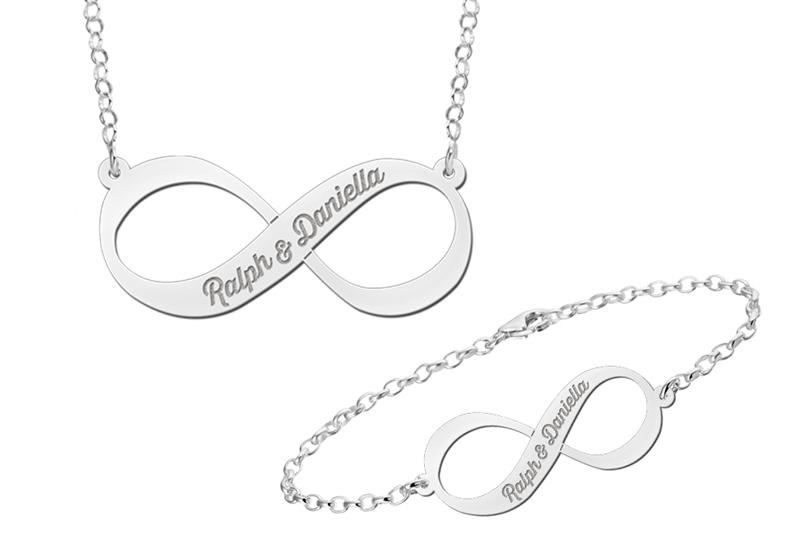 Zilveren hanger en armband Infinity set met naam