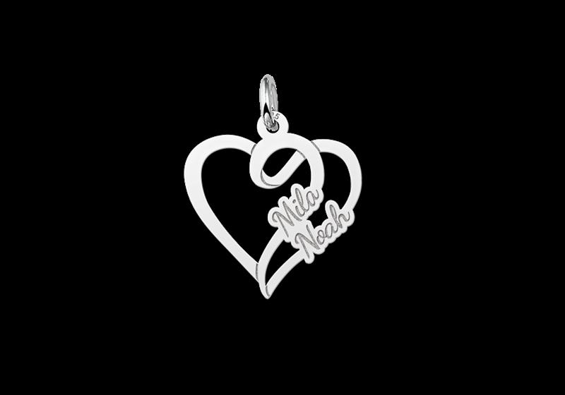 Zilveren hart hanger met twee namen klein